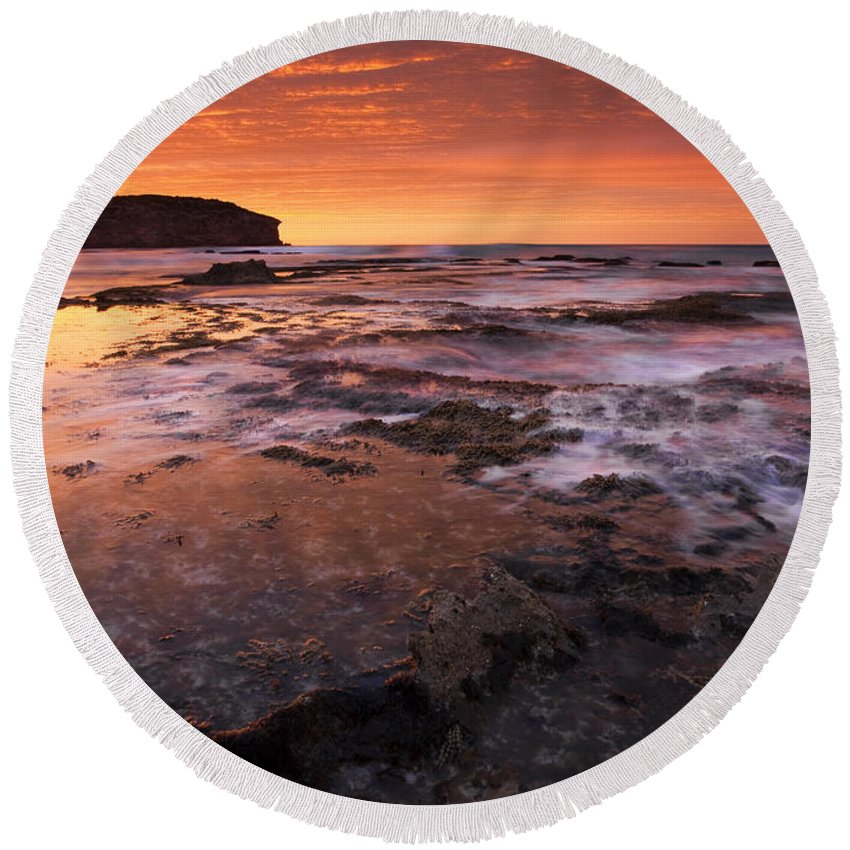Sunrise Round Beach Towel featuring the photograph Red Tides by Mike Dawson