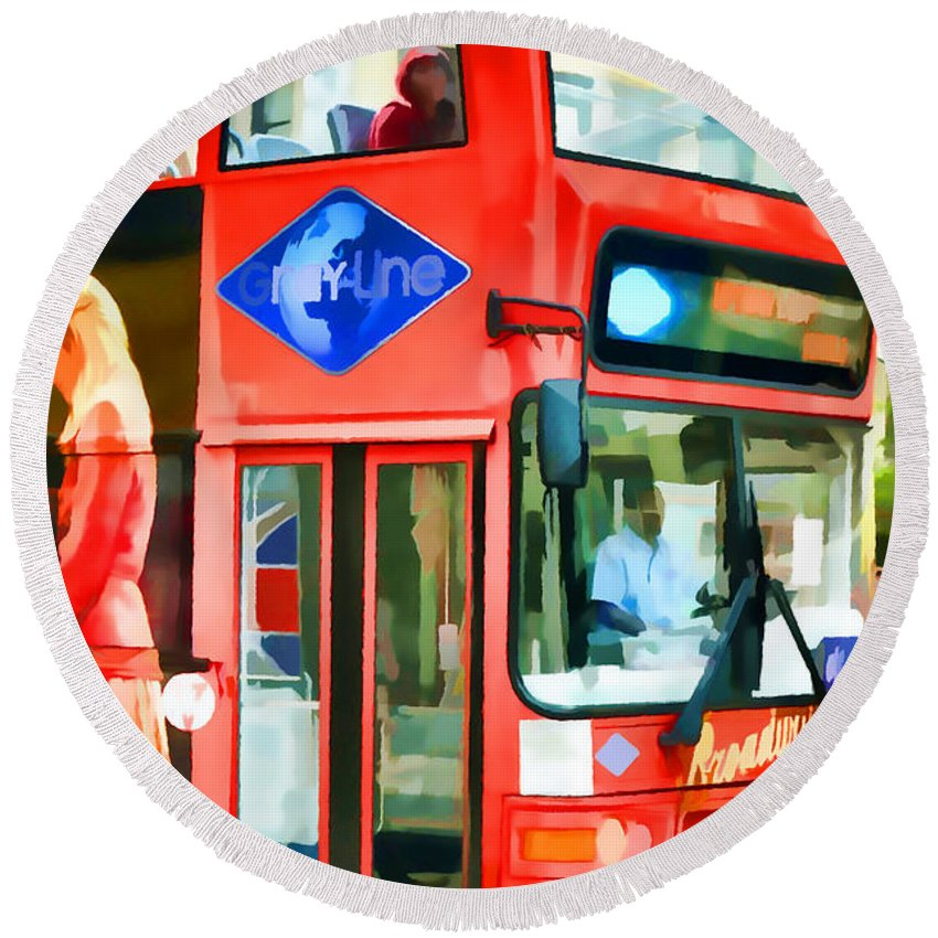 America Round Beach Towel featuring the painting Red Tourist Bus In New York by Jeelan Clark