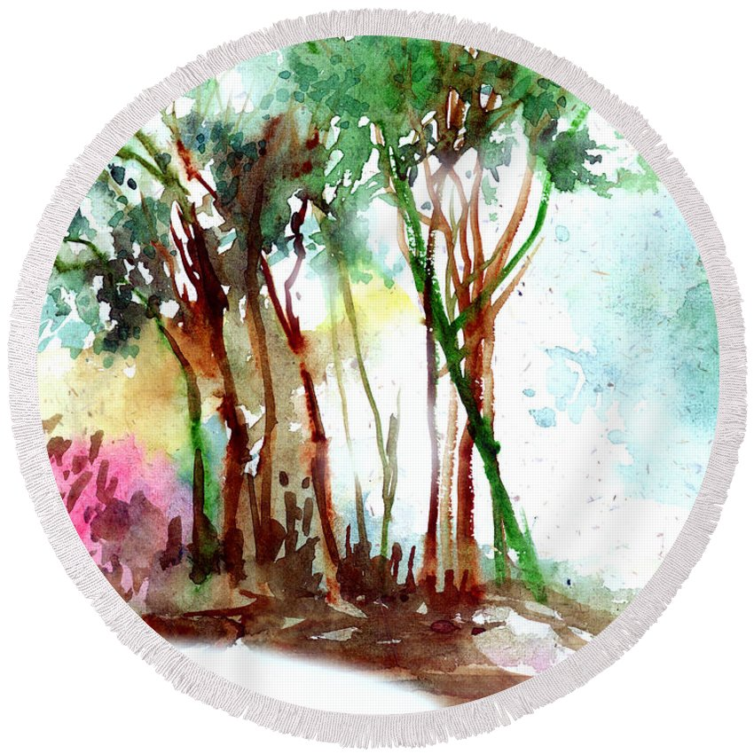 Landscape Round Beach Towel featuring the painting Red Trees by Anil Nene