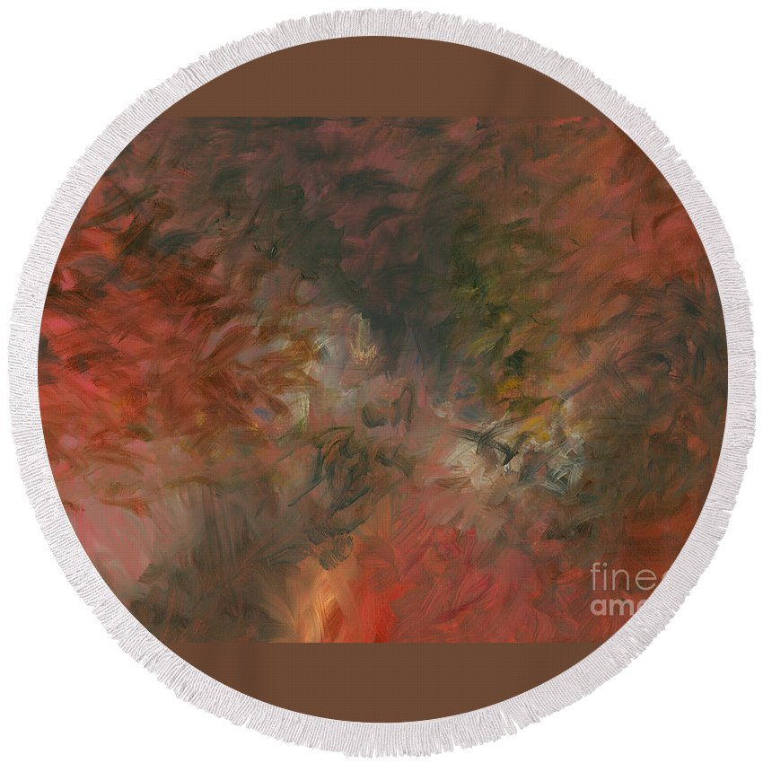 Red Round Beach Towel featuring the painting Red Triumph by Nadine Rippelmeyer