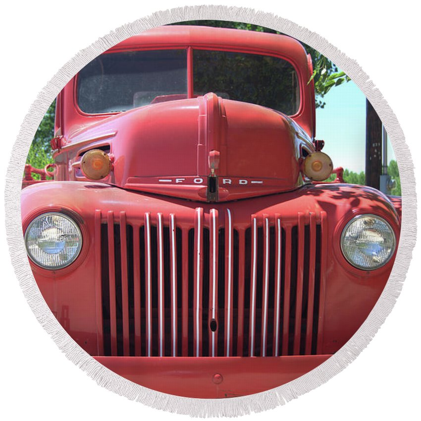 Truck Round Beach Towel featuring the photograph Red Truck by Wendy Fox