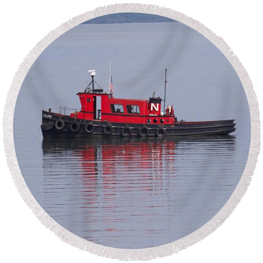 Round Beach Towel featuring the photograph Red Tug On Lake Superior by James Stroshane