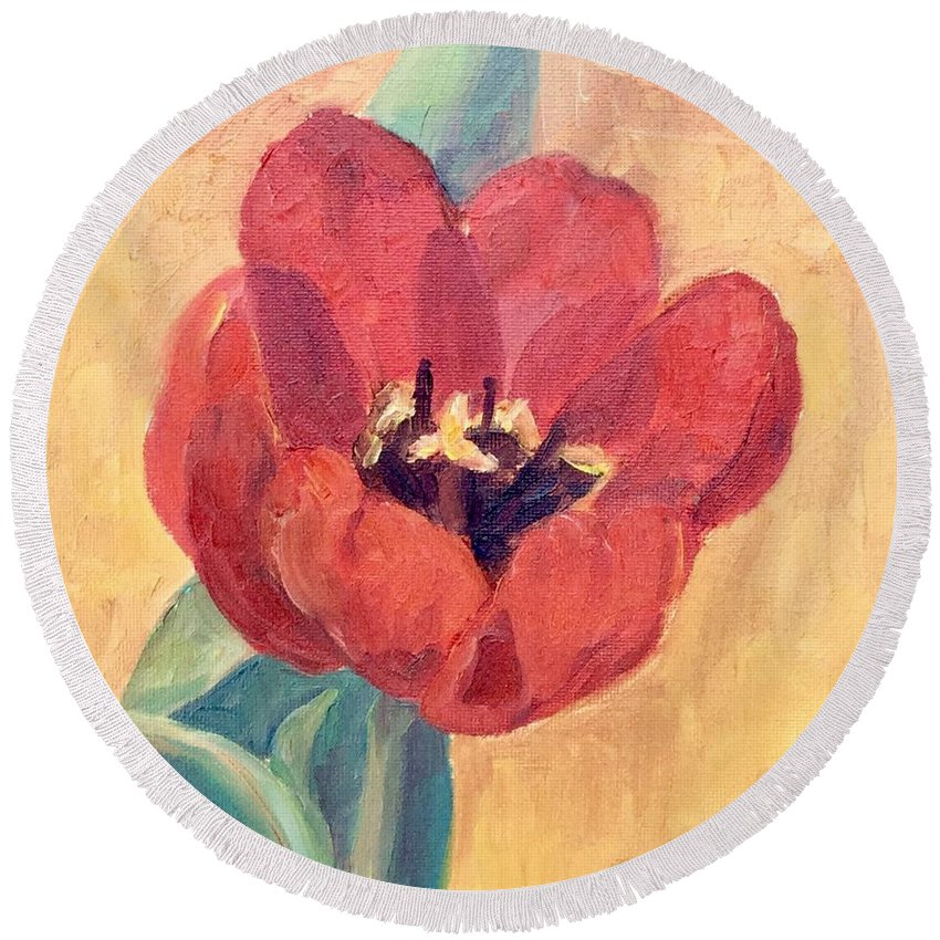 Floral Still-life Round Beach Towel featuring the painting Red Tulip by Mary Ann Clady
