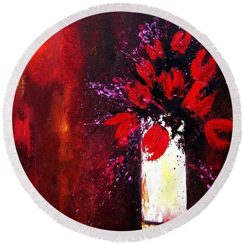 Flowers Round Beach Towel featuring the painting Red Tulips by Pol Ledent