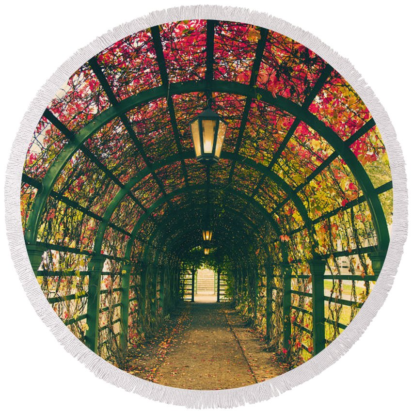 Nature Round Beach Towel featuring the photograph Red Tunnel by Sandra Rugina