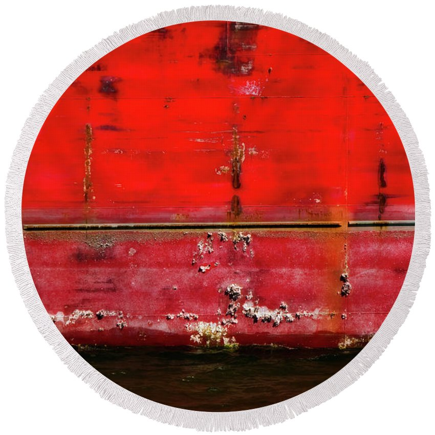 Tanker Round Beach Towel featuring the photograph Red Velvet by Doug Sturgess