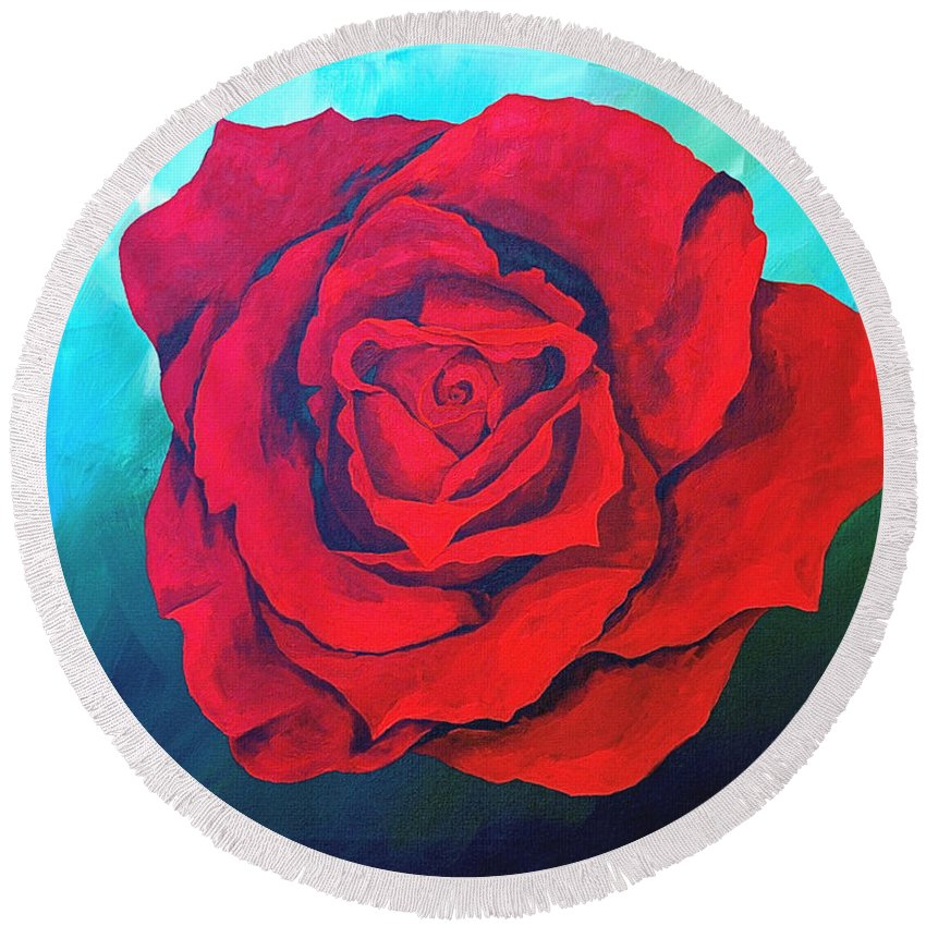 Red Rose Deep Red Rose 3d Ice Rose Round Beach Towel featuring the painting Red Velvet by Herschel Fall
