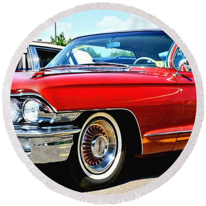Car Round Beach Towel featuring the photograph Red Vintage Cadillac by Amy McDaniel