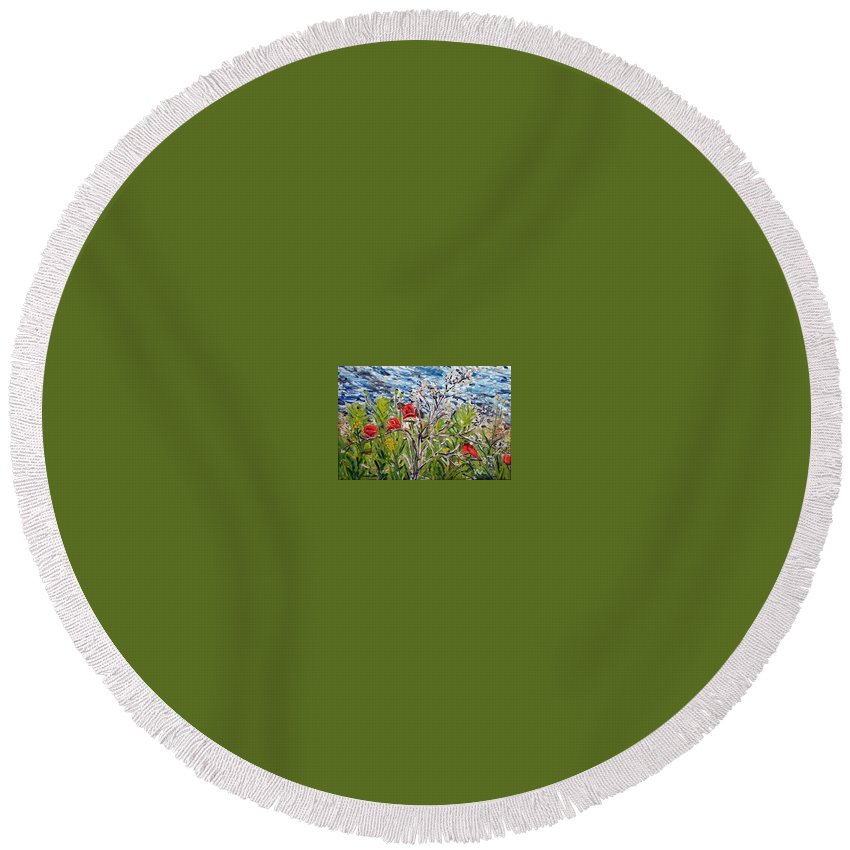 Landscape Round Beach Towel featuring the painting Red-weed - All by Pablo de Choros