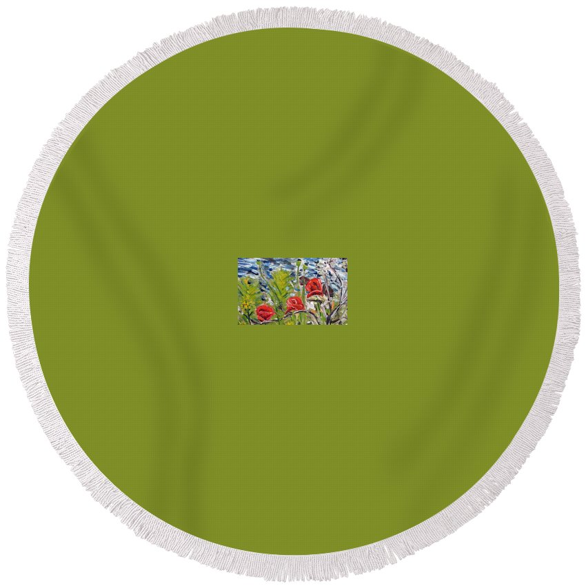 Landscape Round Beach Towel featuring the painting Red-weed - Detail 1 by Pablo de Choros