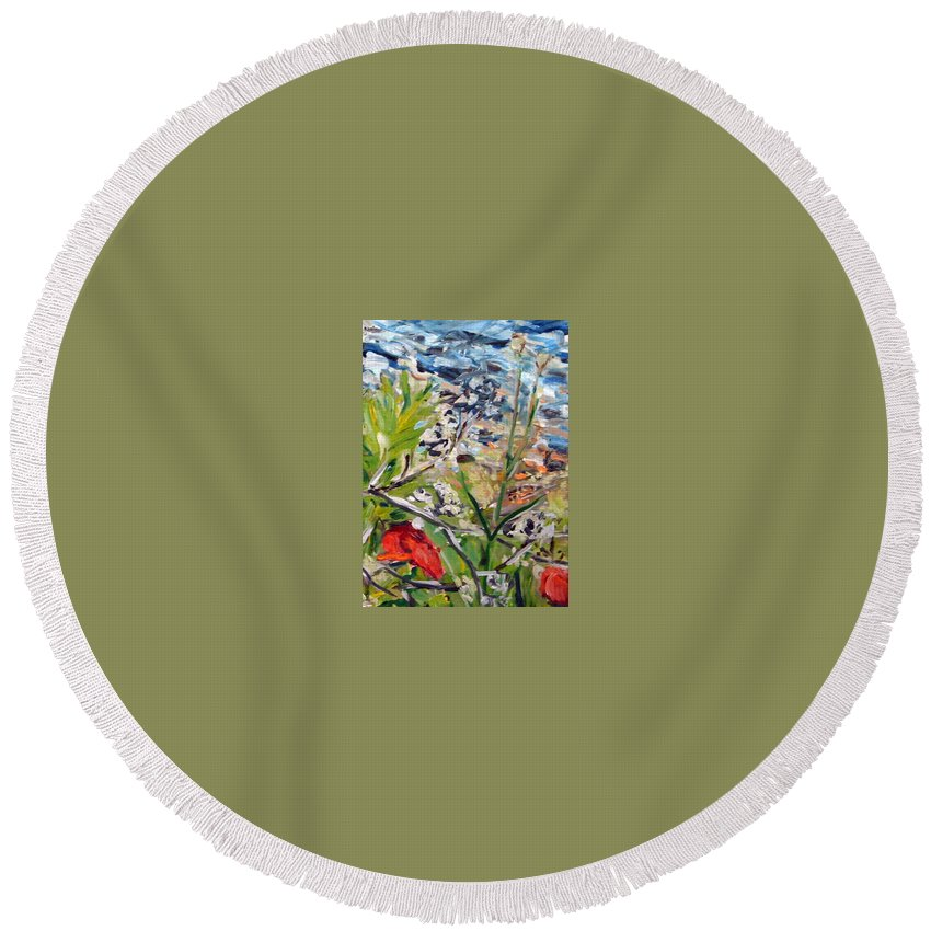 Landscape Round Beach Towel featuring the painting Red-weed - Detail 2 by Pablo de Choros