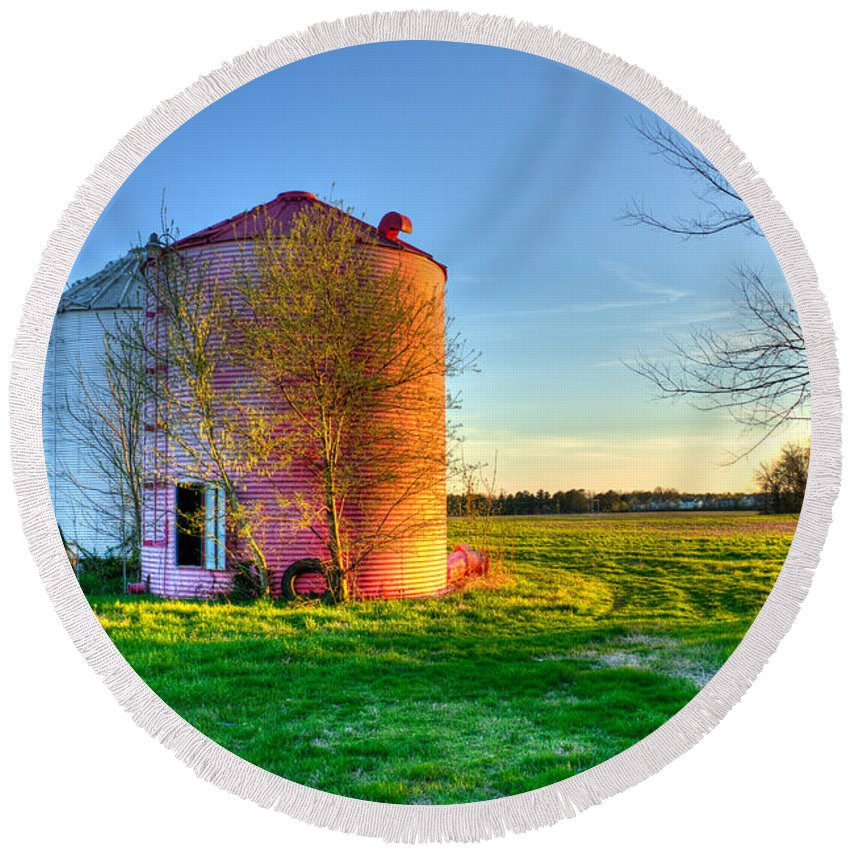 Reid Callaway Silos Round Beach Towel featuring the photograph Red White And Blue Glory by Reid Callaway