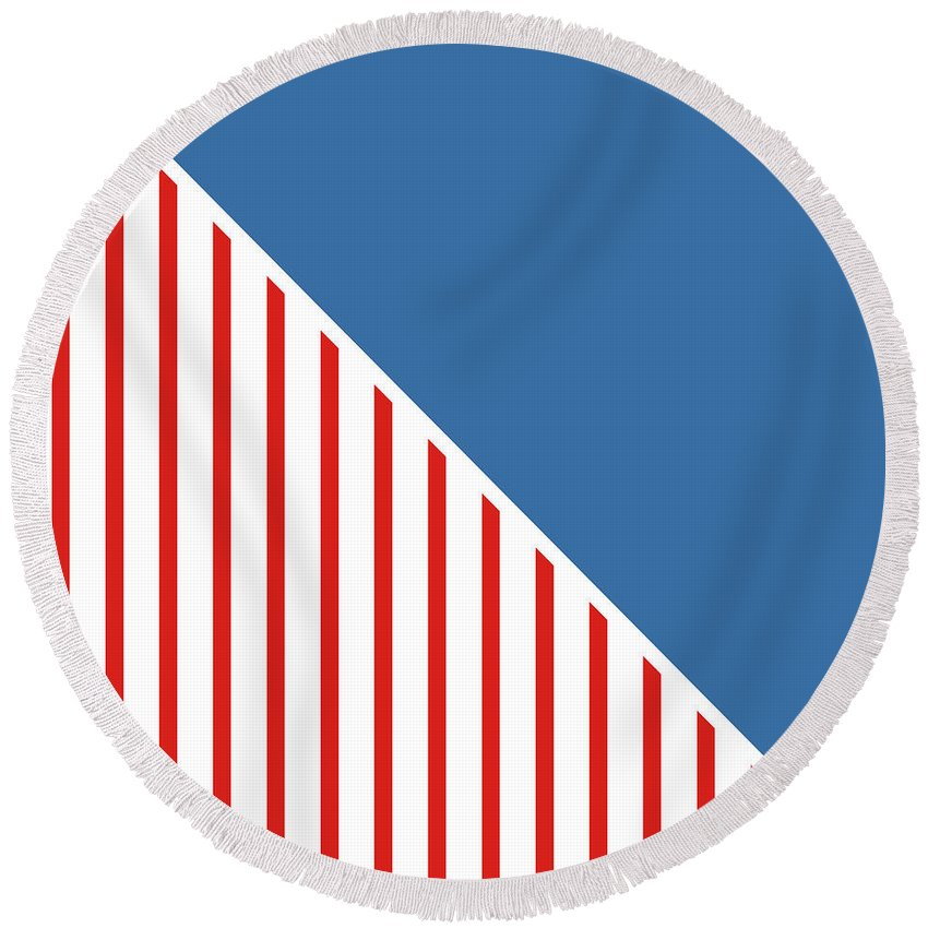 Red Round Beach Towel featuring the digital art Red White And Blue Triangles by Linda Woods