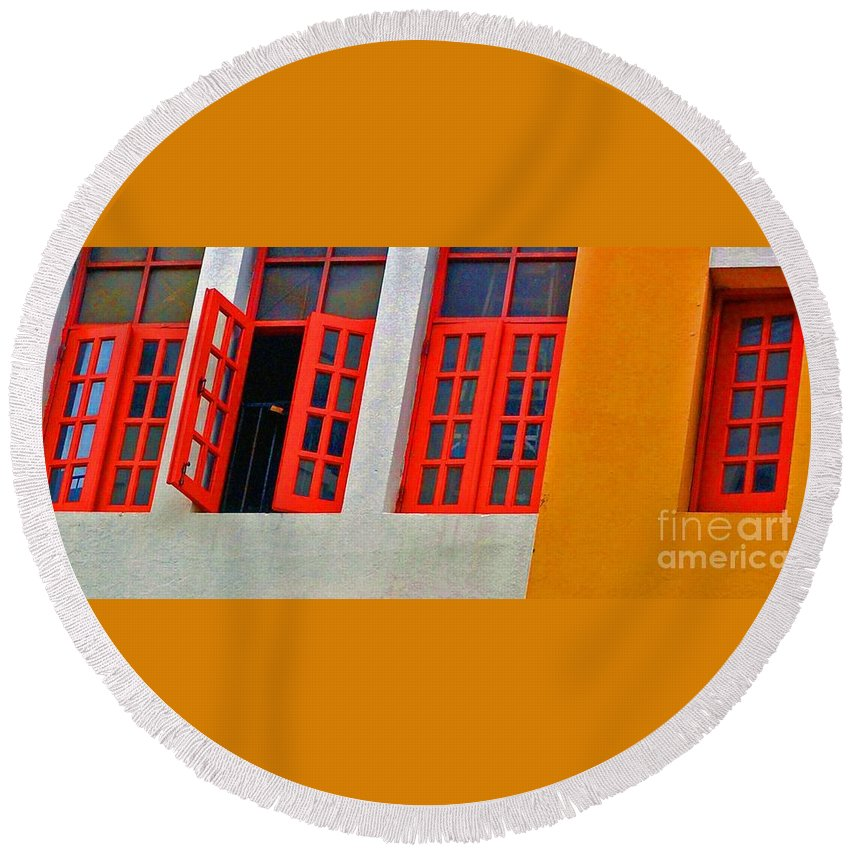 Windows Round Beach Towel featuring the photograph Red Windows by Debbi Granruth