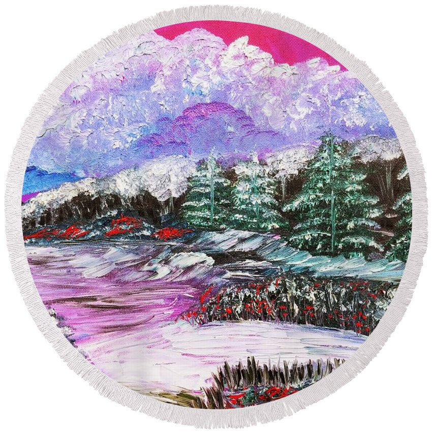 Red Berries Round Beach Towel featuring the painting Red Winter Berries by Elizabeth Goodermote