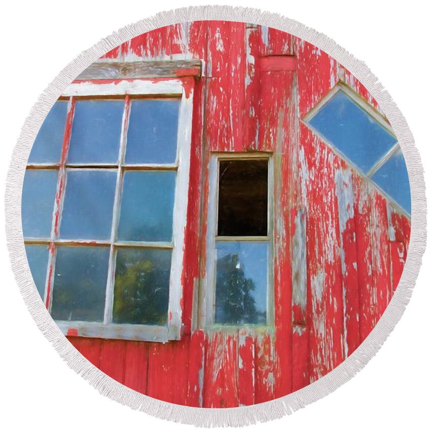 Alicegipsonphotographs Round Beach Towel featuring the photograph Red Wood And Windows by Alice Gipson