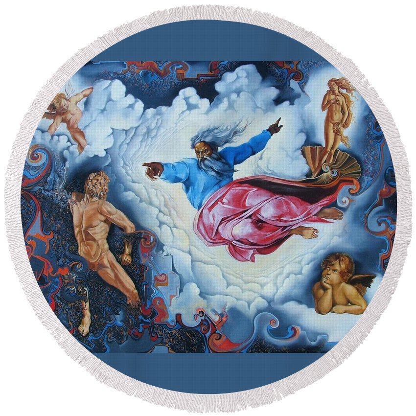 Surrealism Round Beach Towel featuring the painting Redemption by Darwin Leon