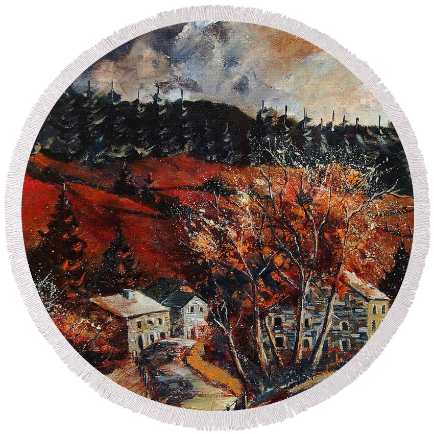 Tree Round Beach Towel featuring the painting Redu Village Belgium by Pol Ledent