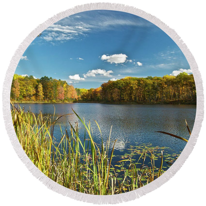 Lake Round Beach Towel featuring the photograph Reed Lake 0251 by Michael Peychich