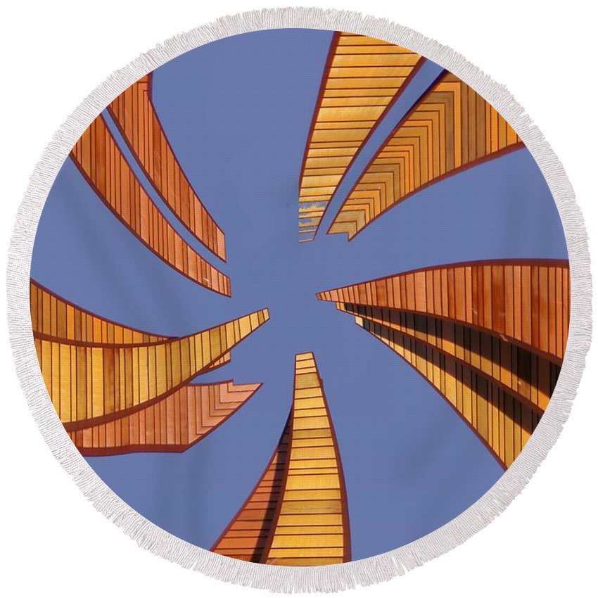 Seattle Round Beach Towel featuring the digital art Reeds 2 by Tim Allen