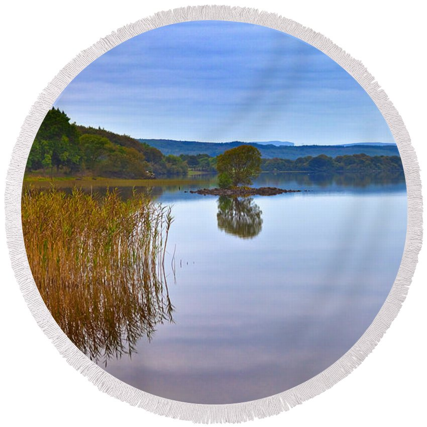 Photography Round Beach Towel featuring the photograph Reeds And An Islet In Lough Macnean by Panoramic Images