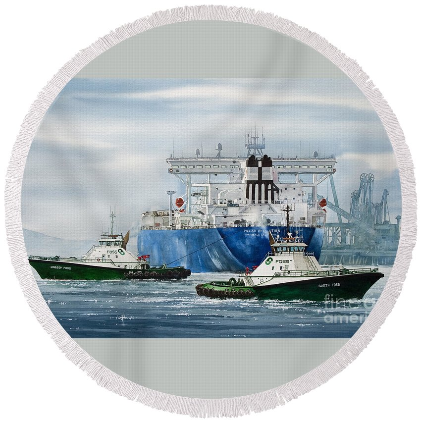 Tugs Round Beach Towel featuring the painting Refinery Tanker Escort by James Williamson