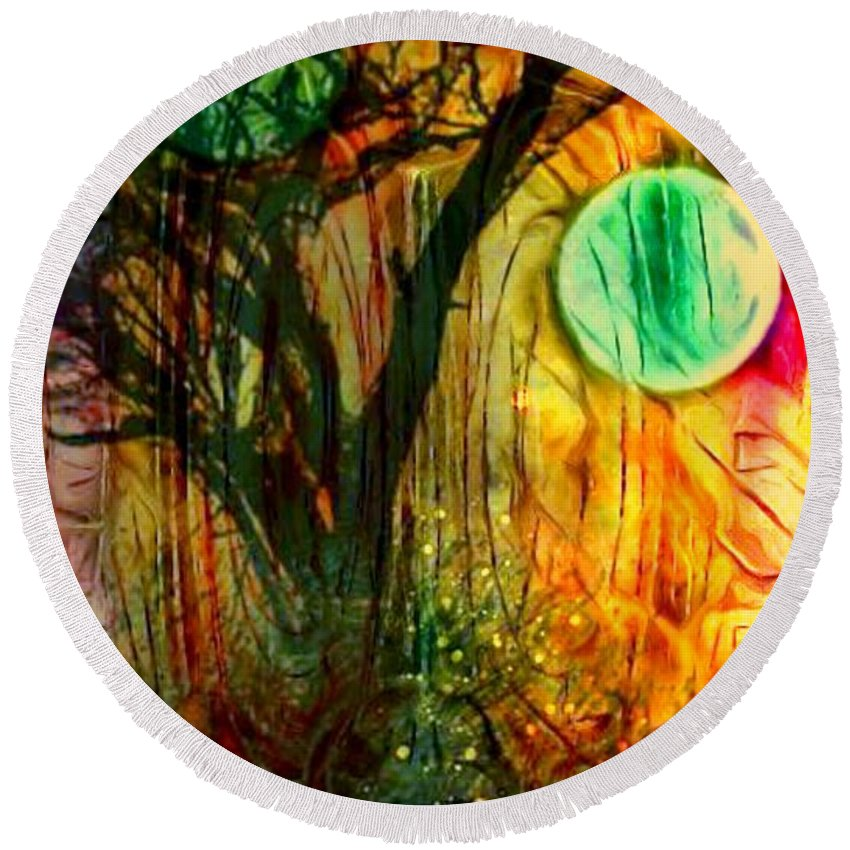 Round Beach Towel featuring the digital art Reflect by Larry Nyman