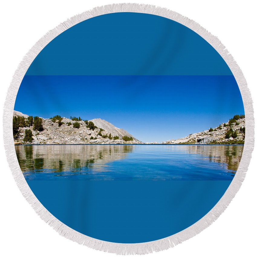 Treasure Lake Round Beach Towel featuring the photograph Reflecting On Treasure by Chris Brannen
