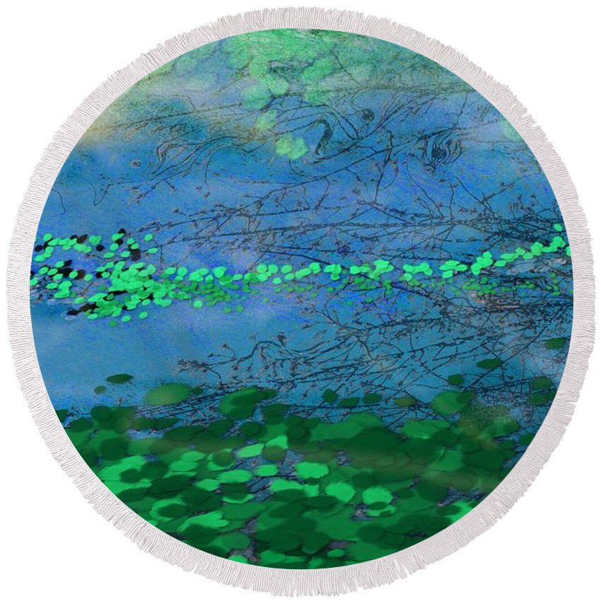 Victor Shelley Round Beach Towel featuring the digital art Reflecting Pond by Victor Shelley