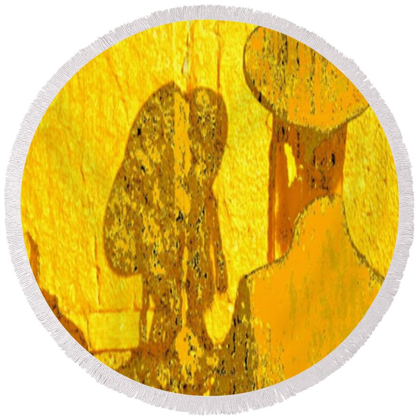 Western Wall Round Beach Towel featuring the digital art Reflecting Reflections by Devorah Fraser