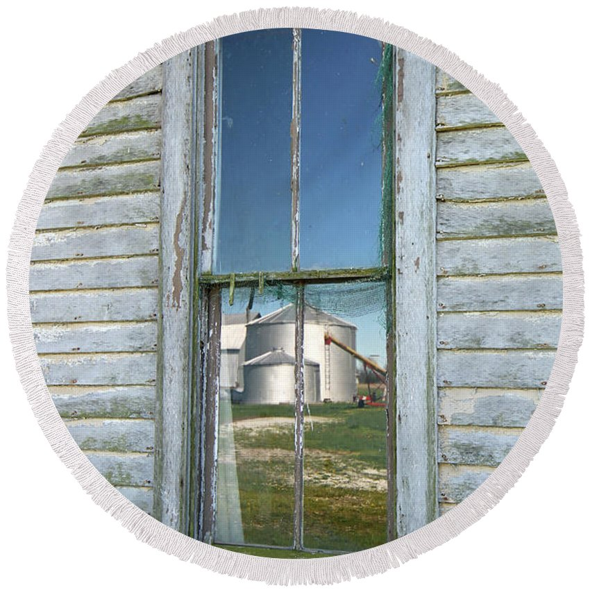 Window Round Beach Towel featuring the photograph Reflecting The Past by Steve Gass