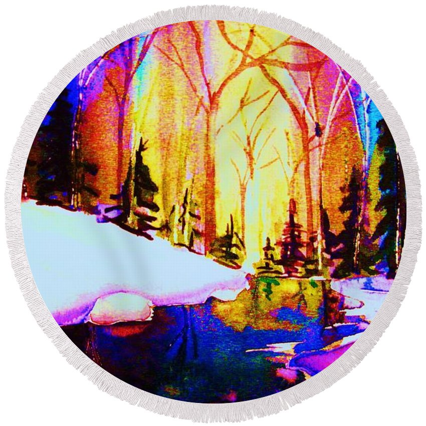 Reflections Round Beach Towel featuring the painting Reflection by Carole Spandau