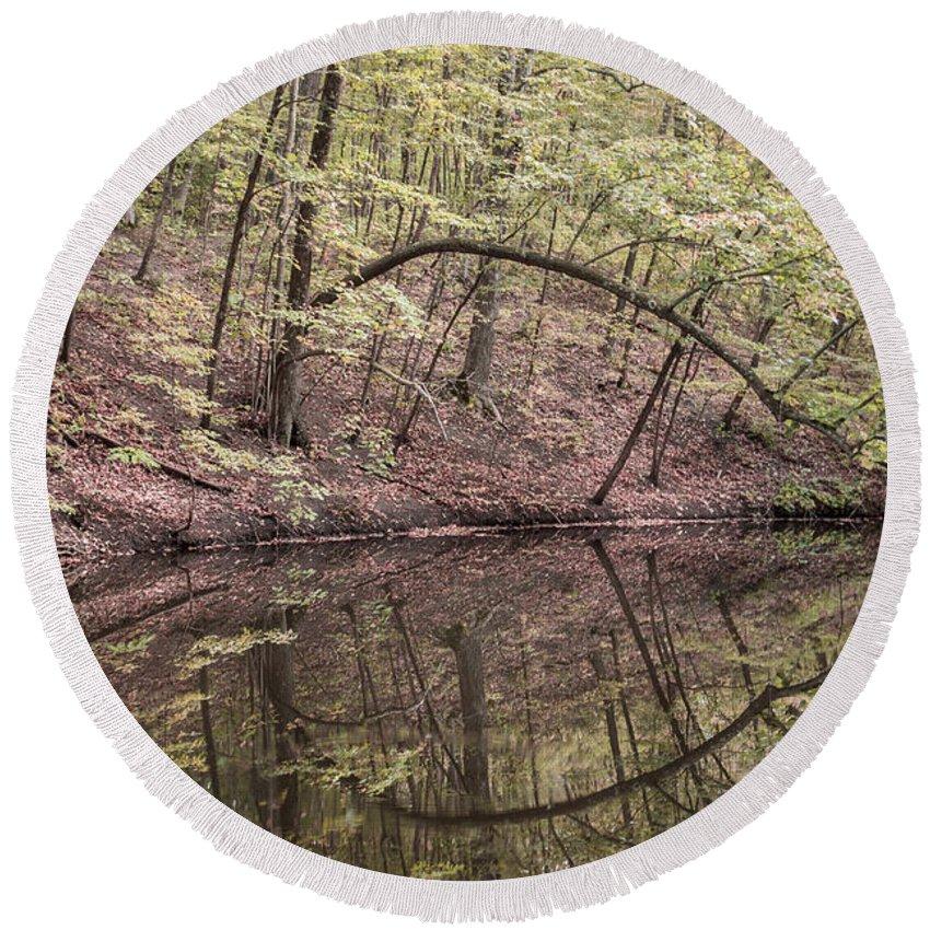 Reflection Round Beach Towel featuring the photograph Ridge Run Reflection by Dawn Braun