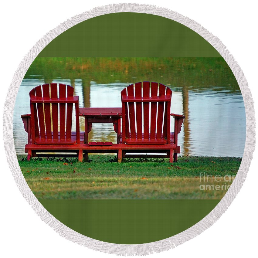 Chairs Round Beach Towel featuring the photograph Reflection by Debbi Granruth
