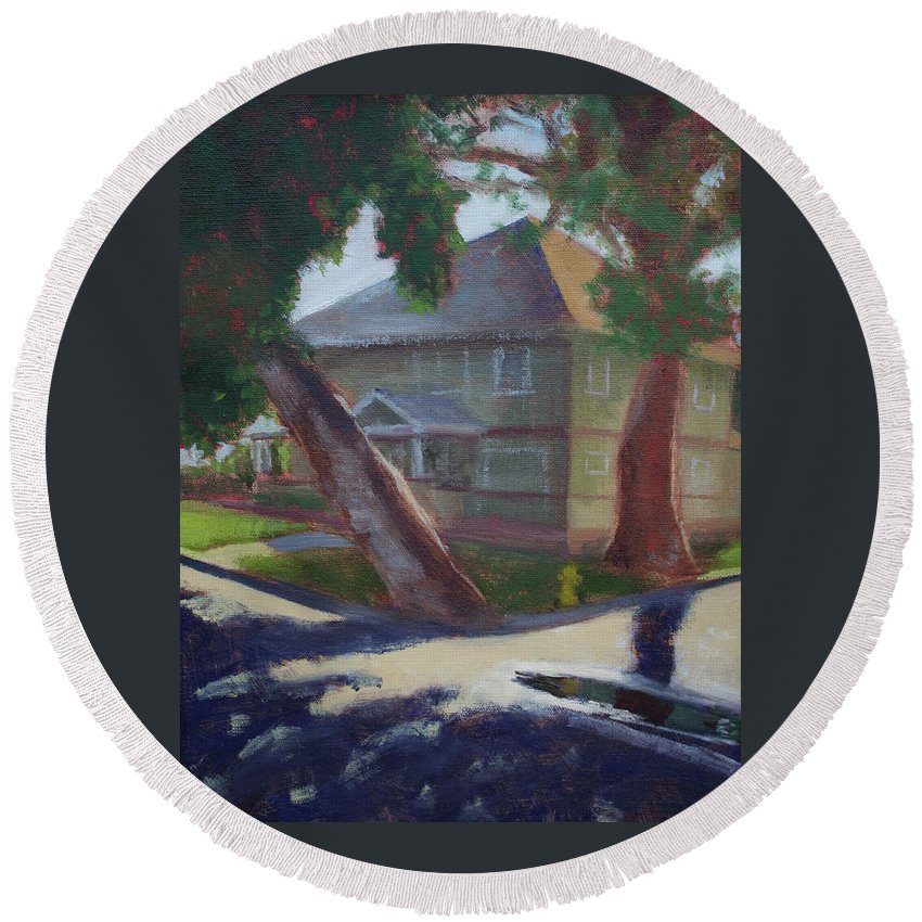 Landscape Round Beach Towel featuring the painting Reflection by Elizabeth Reichner