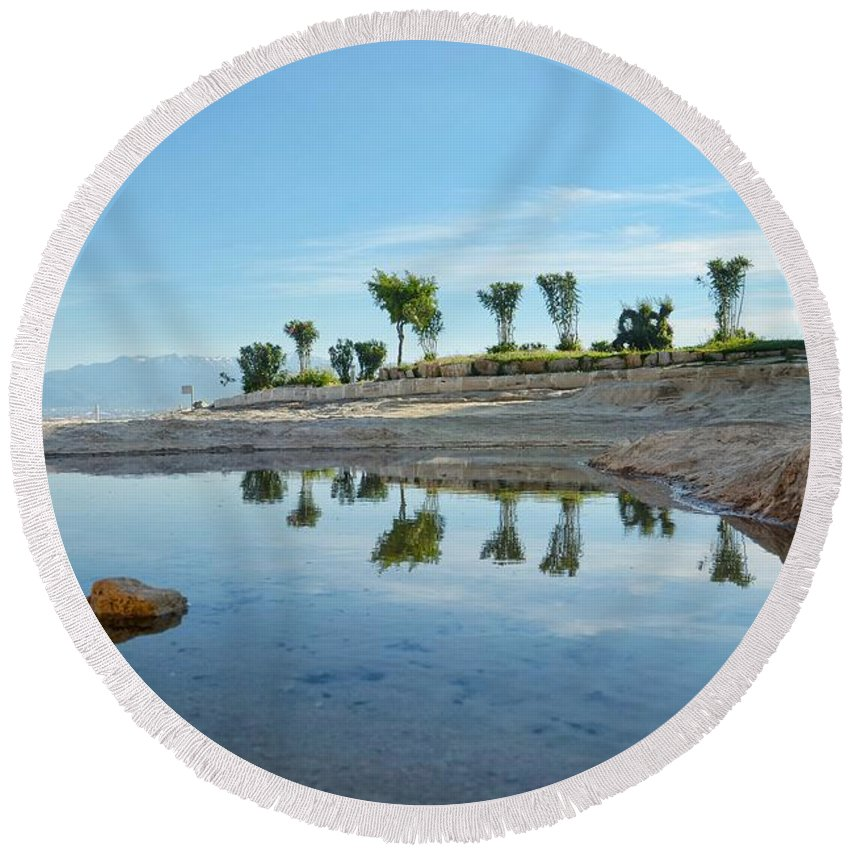 Round Beach Towel featuring the photograph Reflection by Ferhat Sahin Kubra