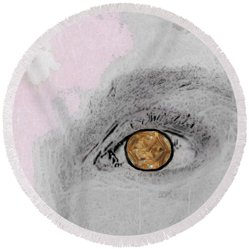 Eye Round Beach Towel featuring the digital art Reflection In A Golden Eye by RC DeWinter