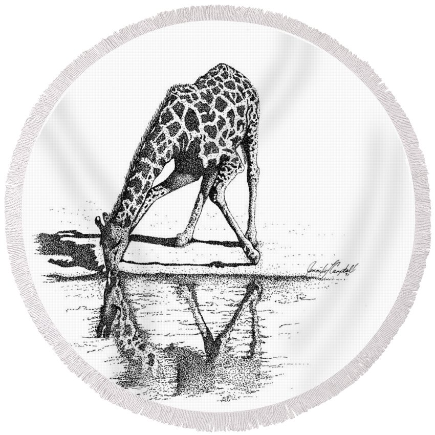 Jennifer Campbell Brewer Round Beach Towel featuring the drawing A Tall Drink Of Water by Jennifer Campbell Brewer
