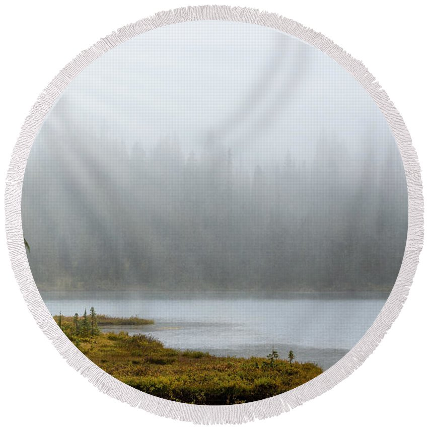 Mt Rainier Round Beach Towel featuring the photograph Reflection Lake Mist by Mary Jo Allen