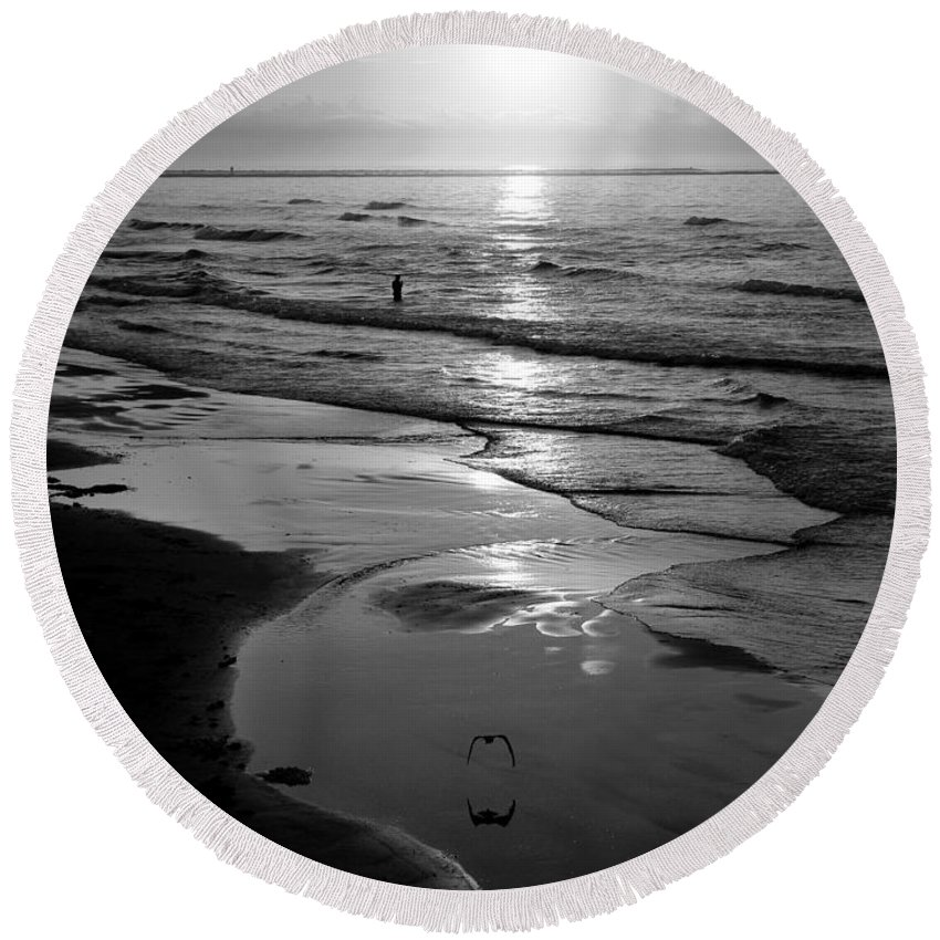 Morning Round Beach Towel featuring the photograph Reflection Of Bird In Flight by Marilyn Hunt