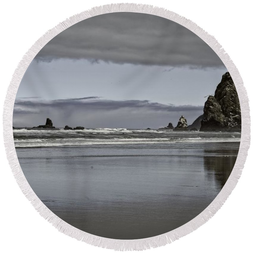 Cannon Beach Round Beach Towel featuring the photograph Reflection Of Hay Stack by Image Takers Photography LLC - Carol Haddon