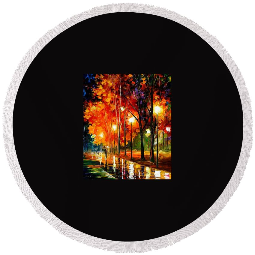 Landscape Round Beach Towel featuring the painting Reflection Of The Night by Leonid Afremov