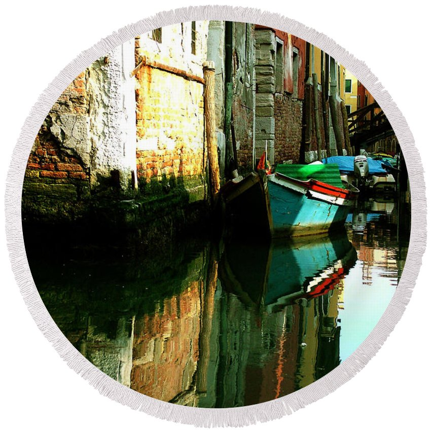 Venice Round Beach Towel featuring the photograph Reflection Of The Wooden Boat by Donna Corless