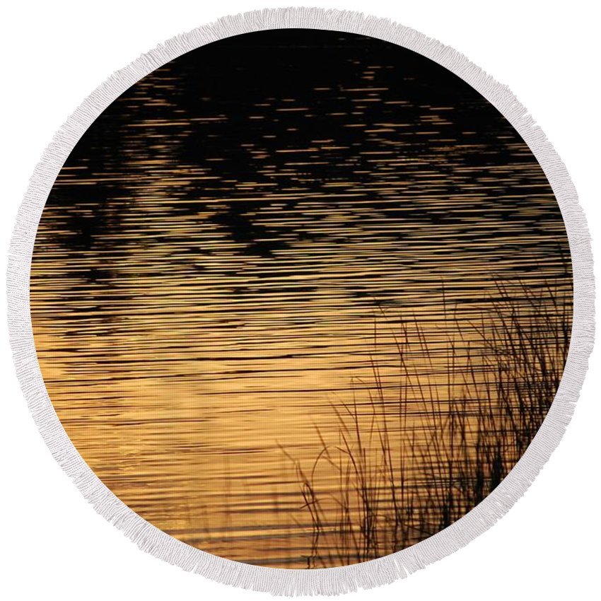 Digital Photo Round Beach Towel featuring the photograph Reflection On A Sunset by David Lane