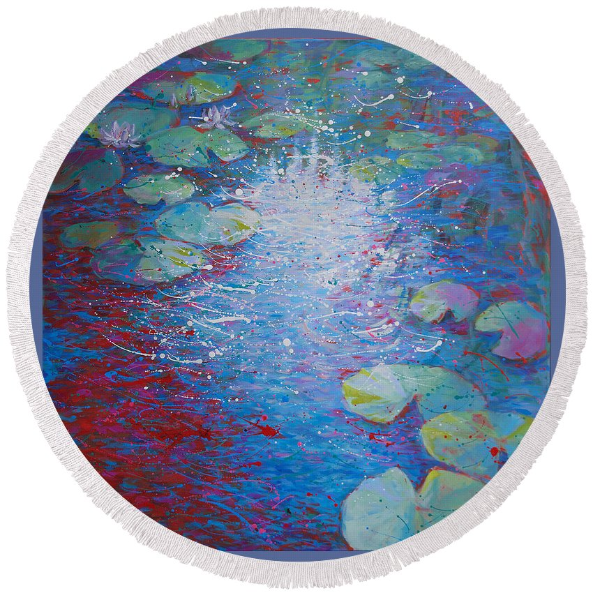 Round Beach Towel featuring the painting Reflection Pond With Liles by Jyotika Shroff
