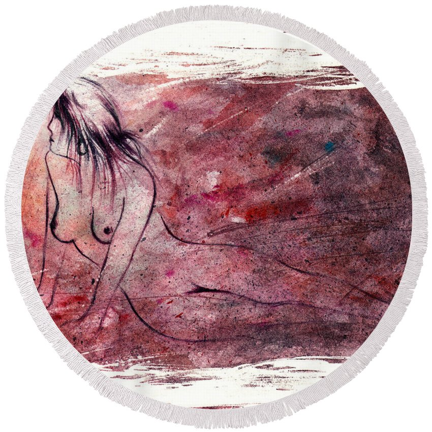 Nude Round Beach Towel featuring the painting Reflection by Rachel Christine Nowicki
