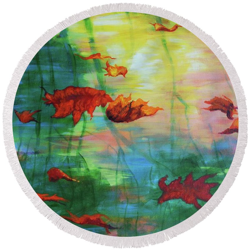 Water Round Beach Towel featuring the painting Reflection Relaxing by Haley Grebe