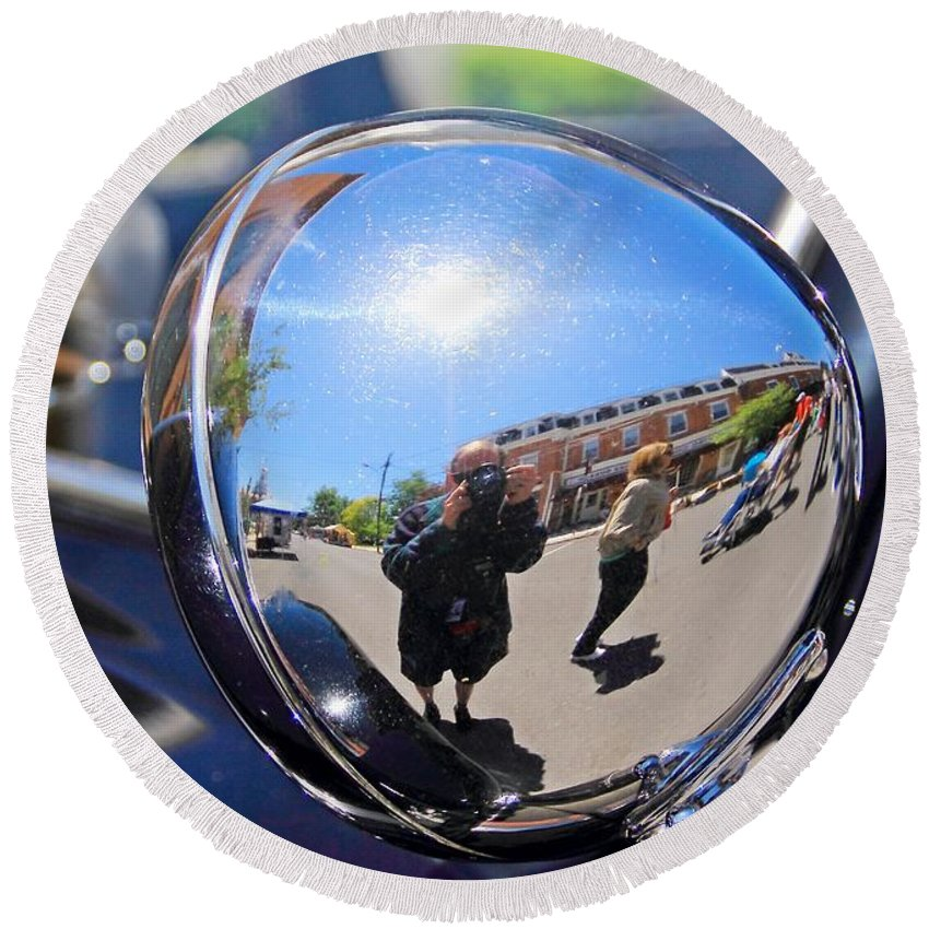 Reflection Round Beach Towel featuring the photograph Reflection Selfie by Karl Rose