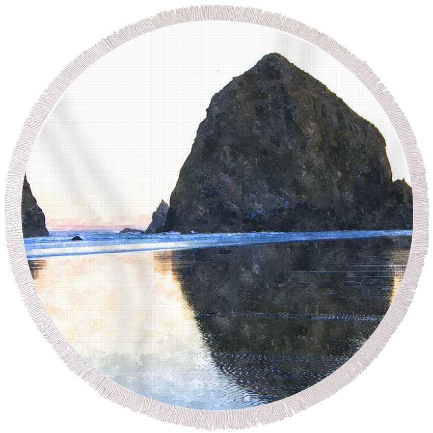 Cannon Beach Round Beach Towel featuring the photograph Reflection Upon The Sand by Image Takers Photography LLC - Carol Haddon