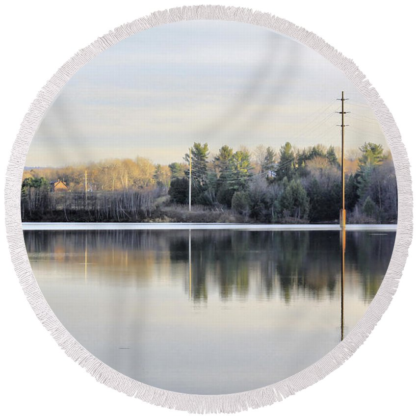 Water Round Beach Towel featuring the photograph Reflections Across The Water by Deborah Benoit